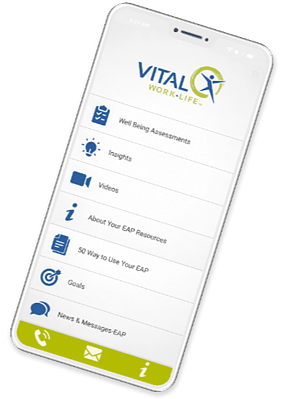 VITAL WorkLife App EAP home screen