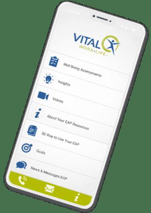 VITAL WorkLife App EAP home screen